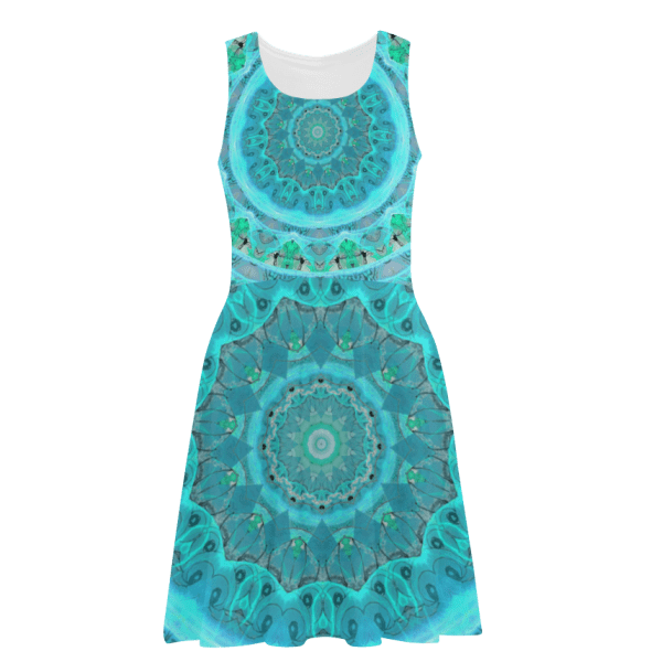 Teal Cyan Ocean Abstract Modern Lace Lattice | Atalanta Sundress | DianeClancy @ ArtsAdd