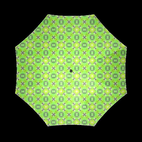 Vibrant Abstract Tropical Lime Foliage Lattice | Foldable Umbrella