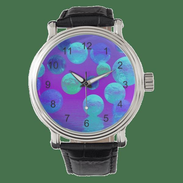 Violet Mist, Cyan, Purple Abstract Light Bubblescape | Wristwatches  | DianeClancyBubbles @Zazzle