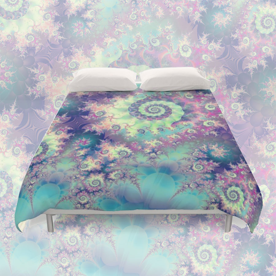 Violet Teal Seashells, Abstract Underwater Forest | Duvet Cover