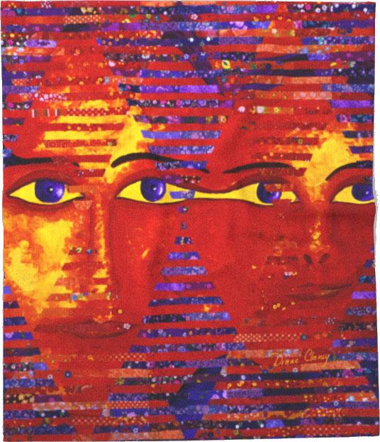 Conundrum III, Abstract Purple Orange Goddess Collage | Throw Blanket