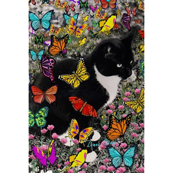 Sold! ❤ Freckles the Tux Cat with Butterflies I 3'x5′ Area Rug @CafePress