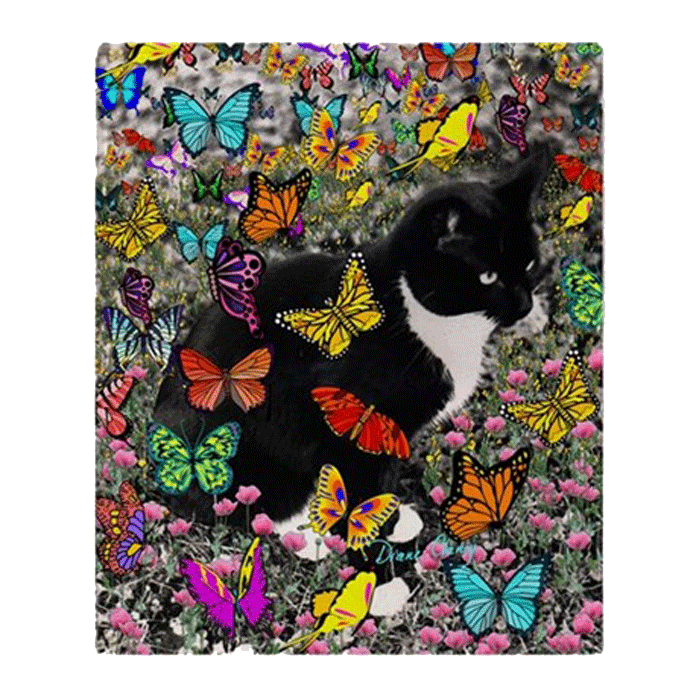 Sold! ❤ Freckles, Black and White Tuxedo Cat, in Butterflies I Fleece Throw Blanket 50″x60″