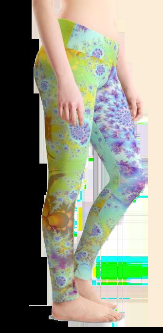 Golden Violet Sea Shells, Abstract Fractal Ocean | Leggings