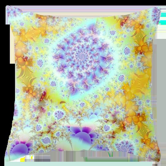 Golden Violet Sea Shells, Abstract Fractal Ocean | Throw Pillow