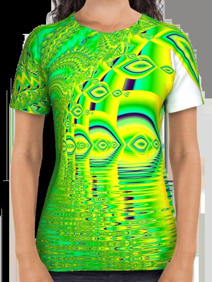 Lemon Lime Cool Summer Day, Fractal Dreams in Green All Over Print Shirt