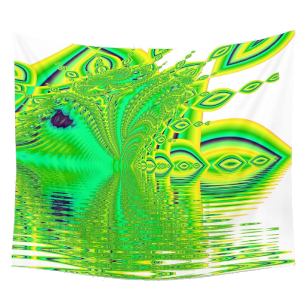 Lemon Lime Cool Summer Day, Fractal Dreams in Green | Wall Hanging