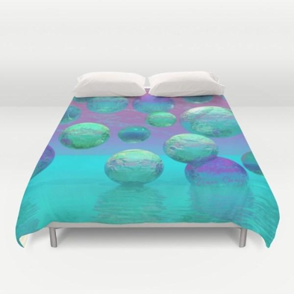 Ocean Dreams, Aqua and Indigo Seascape Universe | Duvet Cover