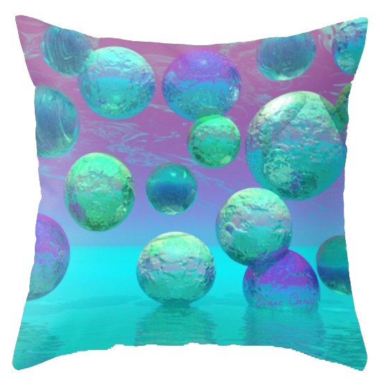 Ocean Dreams, Aqua and Indigo Seascape Universe | Throw Pillow
