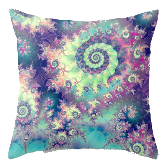 Violet Teal Sea Shells, Abstract Underwater Forest | Throw Pillow