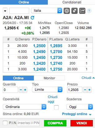 a2a scheda ordine trading