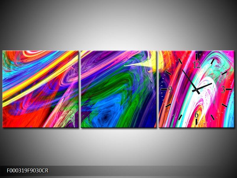 Klok  wandklok abstract op canvas  schilderij 0016