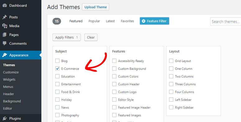 filter eCommerce theme