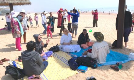 Harinama Sankirtana on Qingdao Beach, China