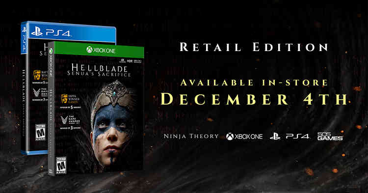 Hellblade: Senua's Sacrifice Physical Release for PS4 and Xbox One