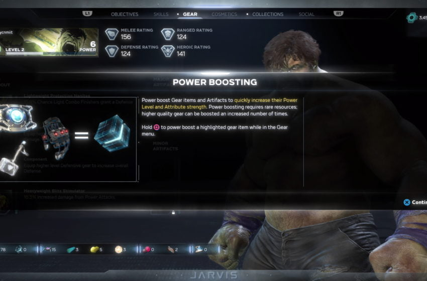 How does power boosting gear work in Marvel's Avengers?