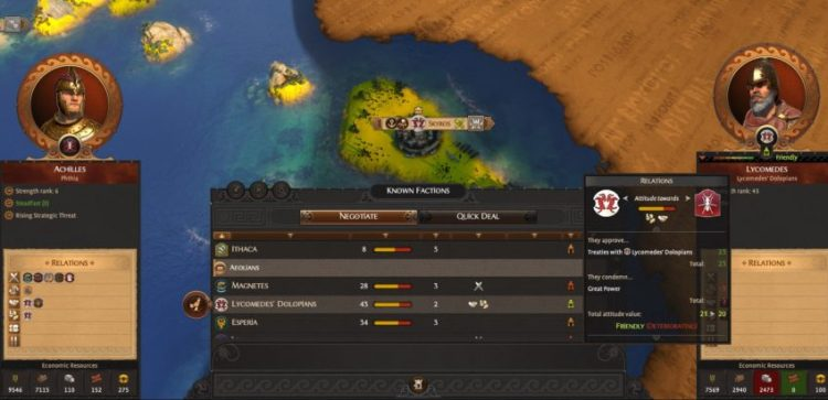 How to improve attitude with another faction in A Total War Saga: Troy
