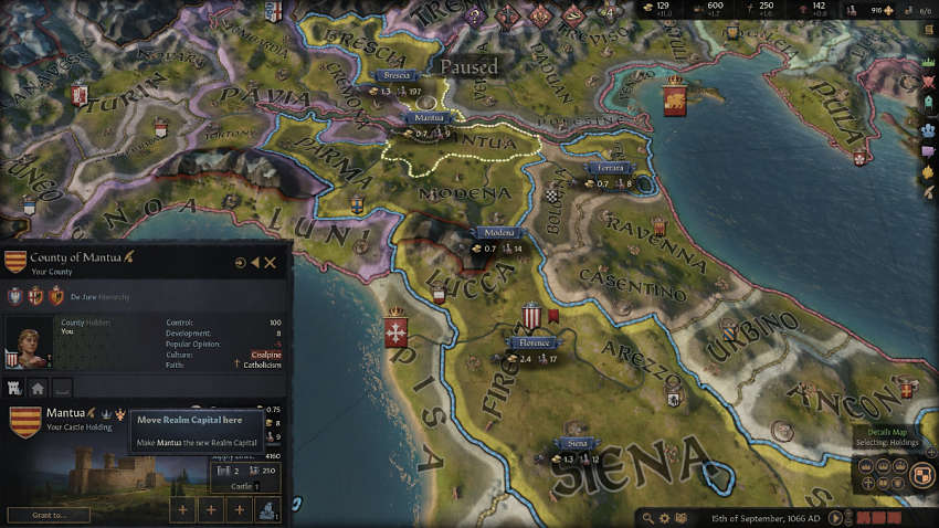 How to change capital in Crusader Kings 3