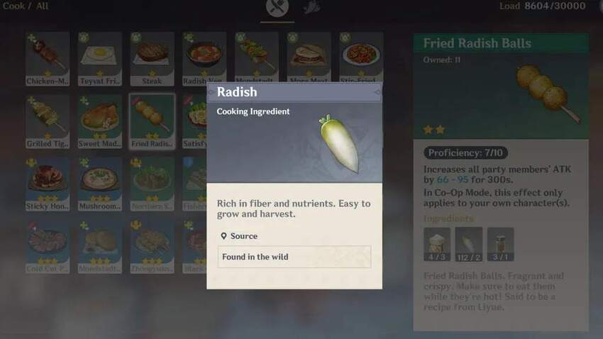 Where to find Radishes in Genshin Impact