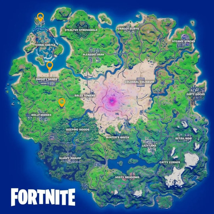 Where to blow up Fishing Holes at Sharky Shell, Sweaty Sands, or Flopper Pond in Fortnite