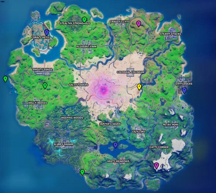 All the Fortnite Chapter 2 Season 5 XP Coin Locations mapped out
