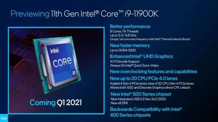 CES 2021: Intel announces Rocket Lake-S 11900K