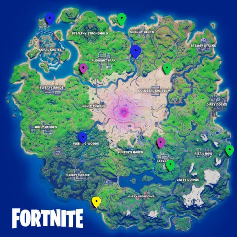 All XP Coin locations Fortnite Chapter 2 Season 5 Week 10