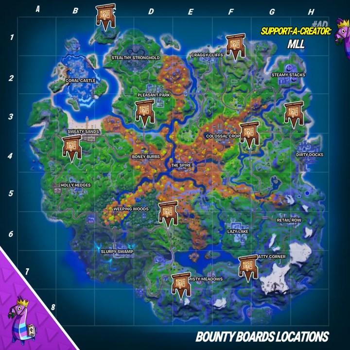All Bounty Board locations in Fortnite Chapter 2 Season 6