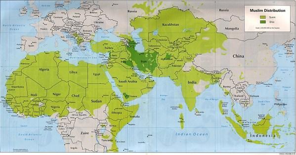 Muslim World Map a distribution
