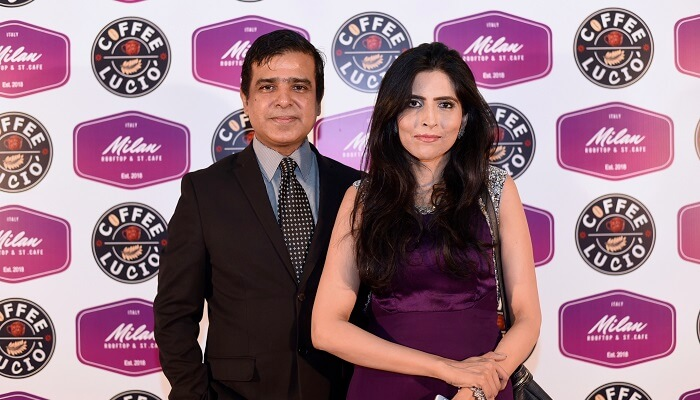 Owners Mr Cyrus and Mrs Ayesha Temuri at launch of Streets of Milan and Coffee Lucio in Islamabad