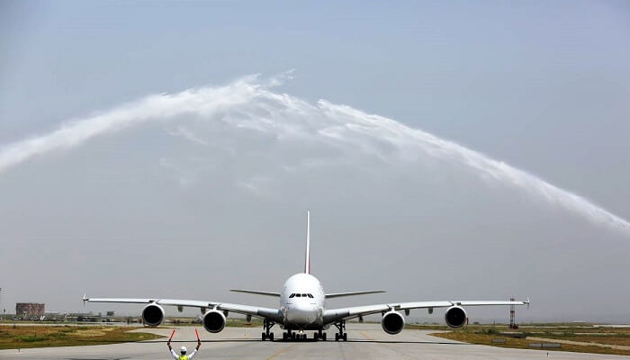 Upon landing at Islamabad International Airport, the aircraft was met with a ceremonial water cannon salute on July 8, 2018