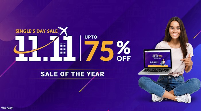 Sastaticket.pk offers up to 75% off on travel deals for 11.11 sale
