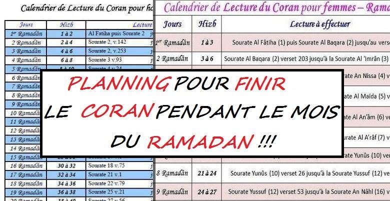 DOCUMENT Plannings de lecture du Coran pour le Ramadan  IslamInfo