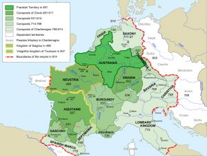 A map showing Charlemagne's additions (in light green) to the Frankish Kingdom