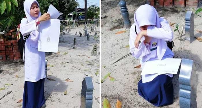 Sambil Menangis, Dia Membacakan Hasil Ujian Di Depan Makam Sang Ibu. Foto: Facebook Aishah Mat Akat