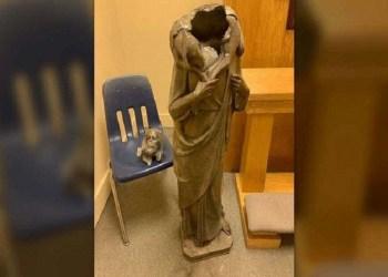 Patung Yesus di gereja Florida AS dipenggal. Foto: Foxnews