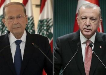 Presiden Lebanon Michel Aoun dan Presiden Turki Recep Tayyip Erdogan. Foto: Yeni Safak