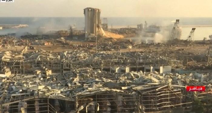 Kota Beirut porak poranda akibat ledakan dahsyat. Foto: Alarabiya