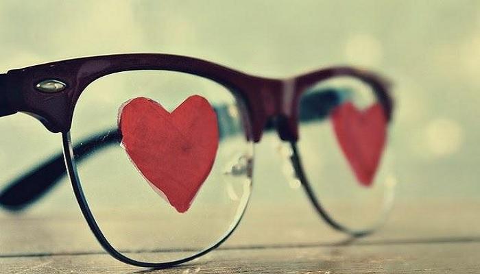 kacamata, cinta, hati