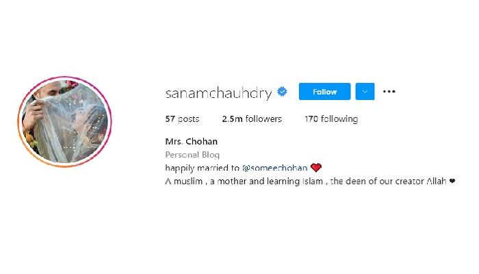 Tangkapan layar  Bio Instagram artis India Sanam Chaudhary