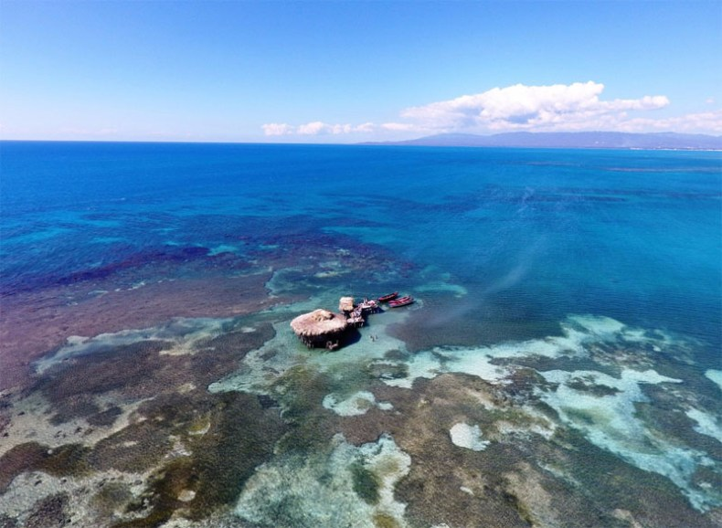 View from drone over Floyd's pelican bar