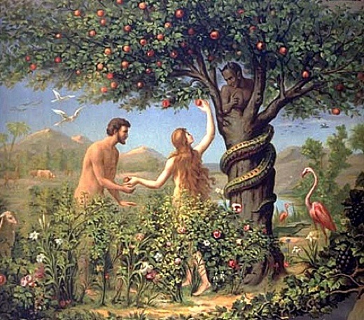 Image result for image of snake tempting adam and eve