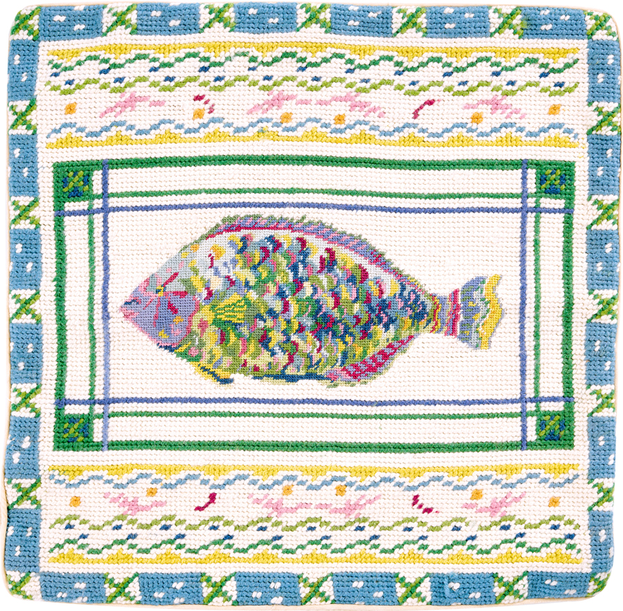parrot fish needlepoint pillow cover
