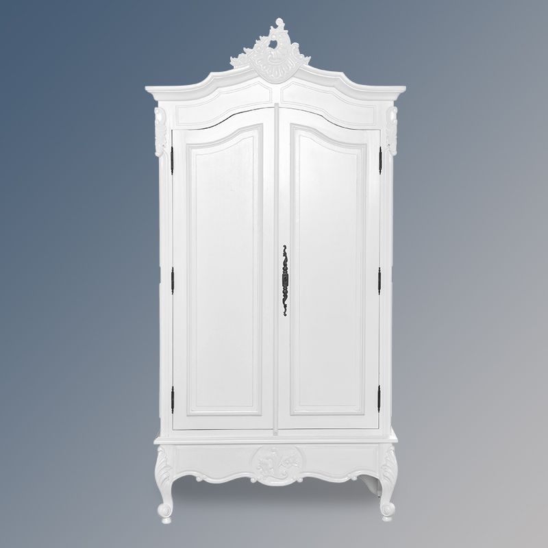 louis xv double armoire solid door french white colour