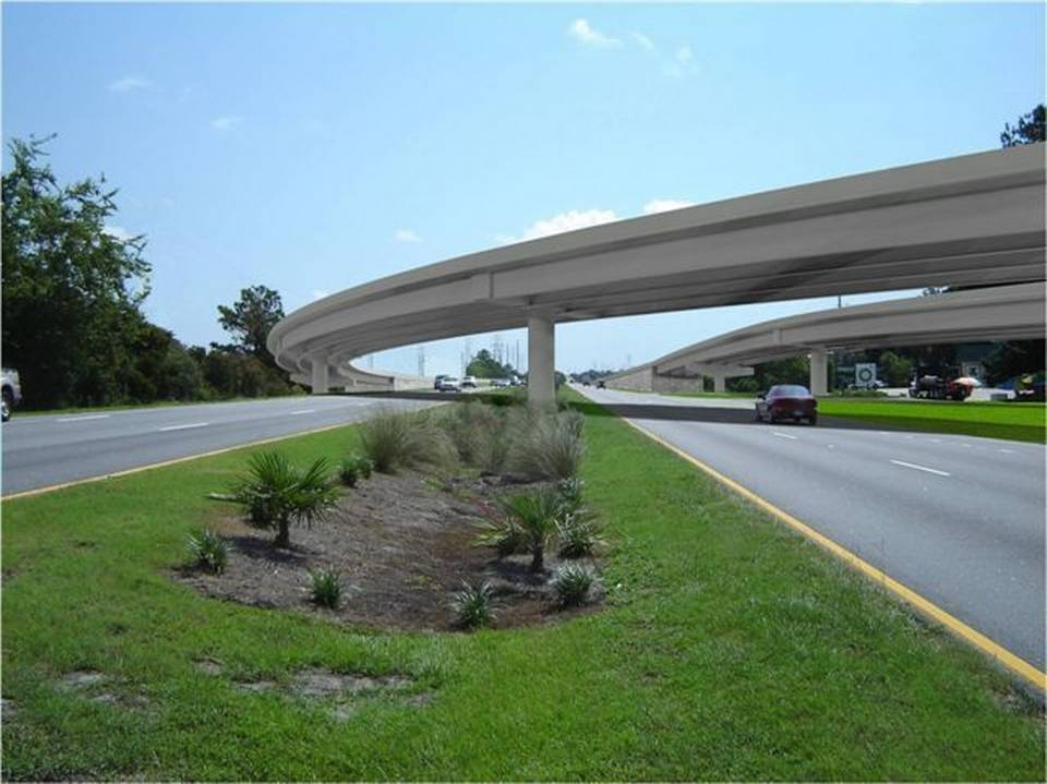 An artist's rendering of the proposed Bluffton Parkway flyover