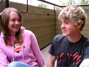 Young male and female talking