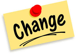 "Yellow note pinned with a red thumbtack that reads ""change"" in the middle with black letter"