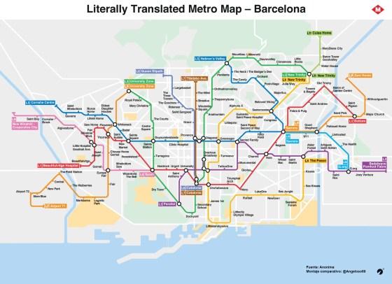 """El mapa del metro de Barcelona traducido al """"Englishhh"""" Literal y su comparativa original"""