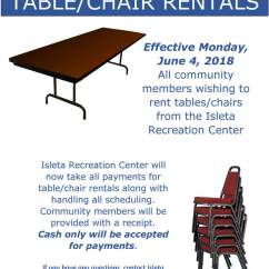 Where To Rent Tables And Chairs Corner Chair With Storage Youth Recreation Isleta Pueblo Notice Regarding Table Rentals From The Cente