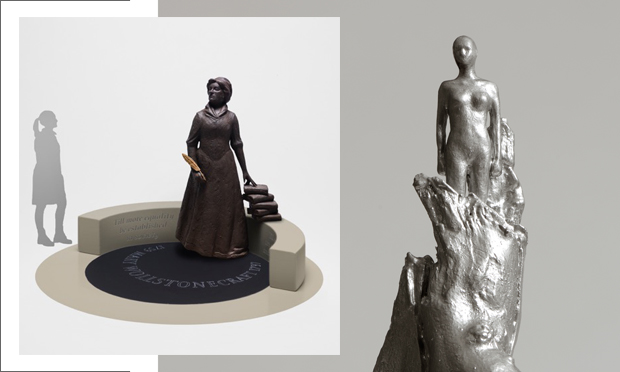 Vindication: the two competing designs for the proposed statue of feminist trailblazer Mary Wollstonecraft - Martin Jennings' (left) and Maggi Hambling's (right). Images courtesy the artists